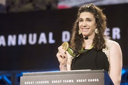 Olympic gold medalist Amanda Polk accepts the Sportswoman of the Year Award at the 81st Dapper Dan Awards and sports auction for the Boys and Girls Clubs of Western Pennsylvania on Wednesday, Feb. 15, 2017 at the David L. Lawrence Convention Center Downtown.