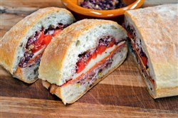 Super Submarine Sandwich with Olive-Pepper Relish.