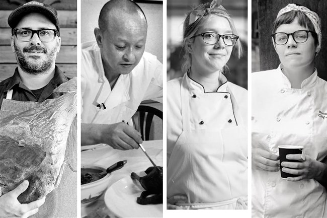Four Pittsburgh-area chefs have been nominated for the 27th annual James Beard Foundation Awards. They are, from left, Justin Severino of Lawrenceville's Cure; Wei Zhu of Chengdu Gourmet in Squirrel Hill; Casey Renee of Whitfield at the Ace Hotel in East Liberty; and Becca Hegarty of The Cafe Carnegie at the Carnegie Museum of Art in Oakland.  Photos by Post-Gazette (Severino and Zhu), Rob Larson (Renee); and Laura Petrilla (Hegarty)