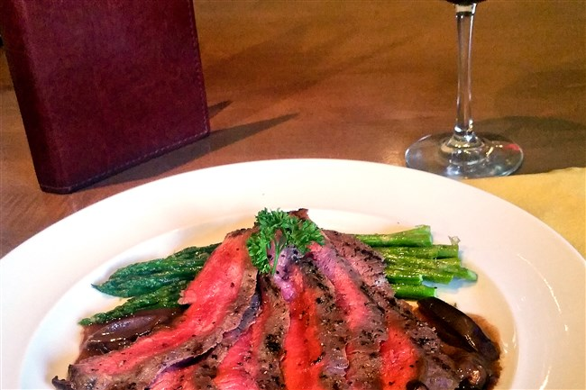Hines Ward's Napa Valley Red Blend pairs well with flank steak topped with a mushroom demi glace.