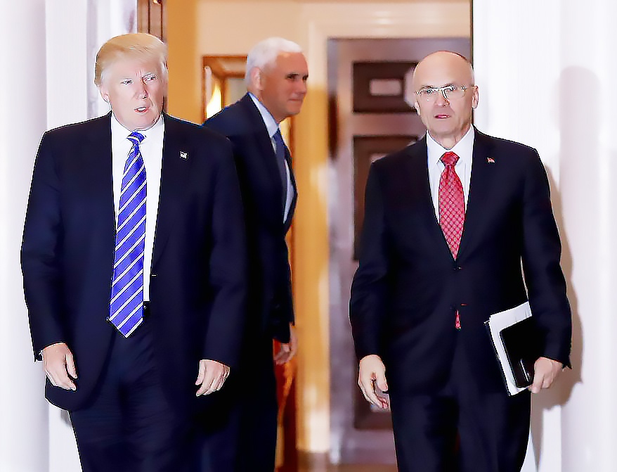 trump puzder President Donald Trump and Andrew Puzder, CEO of the Hardees fast food chain. Puzder has withdrawn from consideration to be labor secretary.