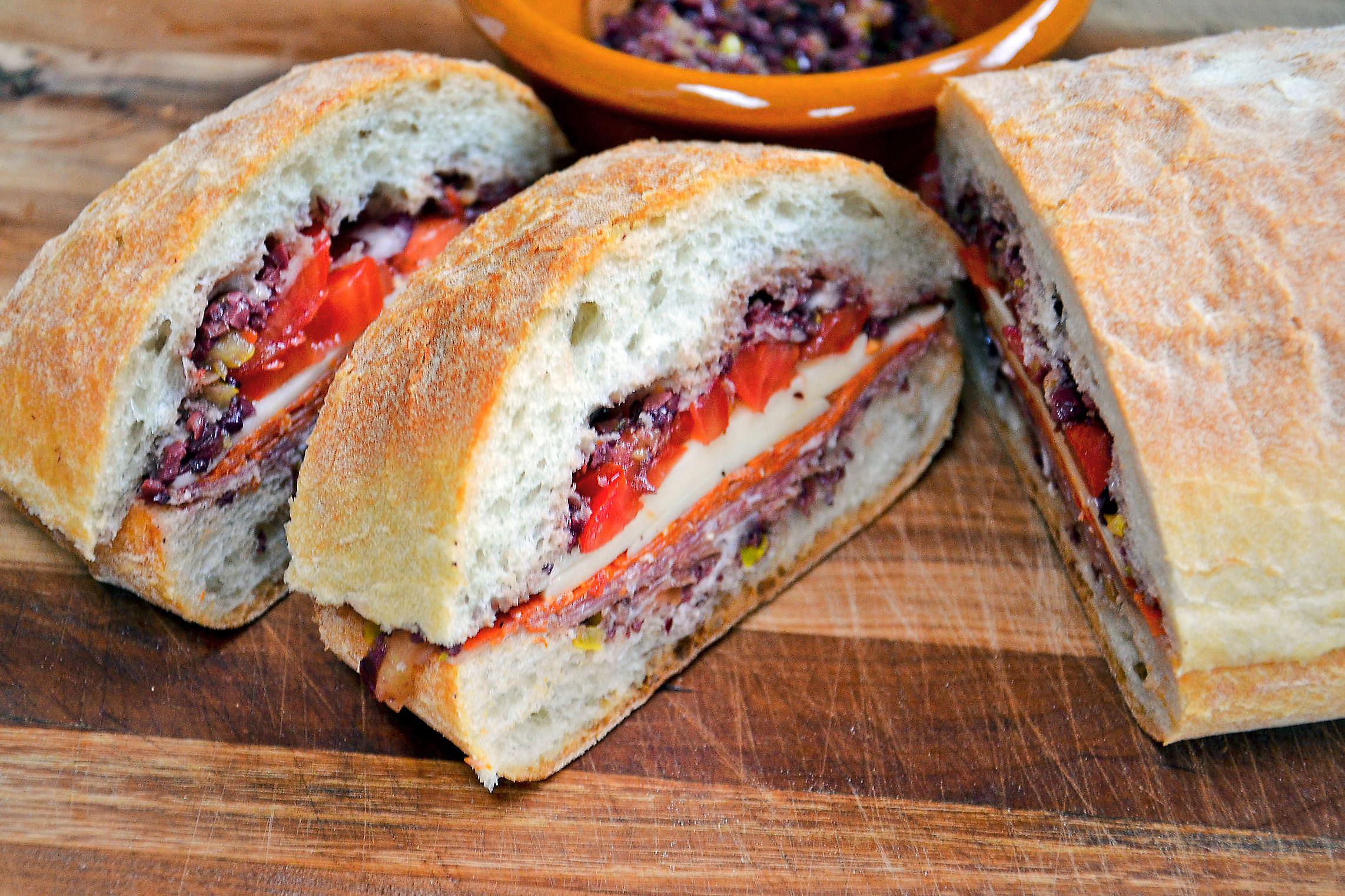 Super-Submarine-Sandwich-rubin-1-1 Super Submarine Sandwich with Olive-Pepper Relish.