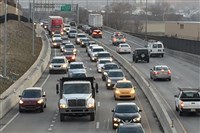 Traffic crawls along Route 28.