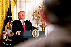 President Donald Trump takes a question during a news conference Feb. 17 in the East Room of the White House.