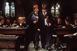 "Rupert Grint, left, portrays Ron Weasley and Daniel Radcliffe is Harry Potter in ""Harry Potter and the Sorcerer's Stone."""