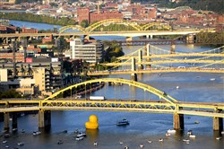 A view of some of the bridges crossing the Allegheny River in Pittsburgh.