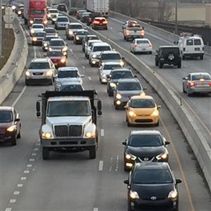 Traffic crawls along Route 28 southbound.
