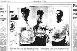 The front page of The Pittsburgh Press Friday, April 17, 1987. Matthew Brelis, left, and Andrew Schneider, right, winners of the 1987 Pulitzer prize for public service, are joined in the celebration by photographer vince Musi, who took the pictures for their series of articles on the inadequacy of screening of airline pilots.