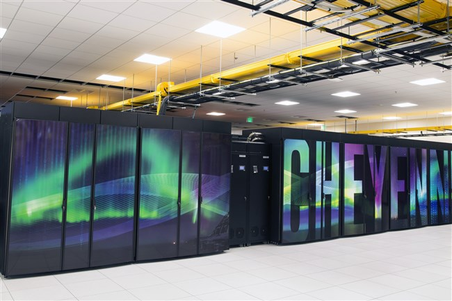 This Oct. 26, photo provided by the University Corporation for Atmospheric Research shows the new supercomputer named Cheyenne at the National Center for Atmospheric Research at the supercomputing center in Cheyenne, Wyo. Wyoming officials including Gov. Matt Mead say they support the NCAR-Wyoming Supercomputing Center even as they describe themselves as climate skeptics. Scientists nationwide are nonetheless concerned that President Donald Trump, who has called climate change a hoax, might not take climate change research seriously.
