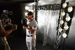 Gerrit Cole poses for a Root Sports promo during photo day February at Pirate City in Bradenton, Florida.