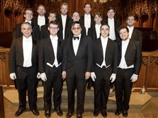 Otto H. Chu, center, poses with the Whiffenpoofs before their performance on Saturday at Heinz Memorial Chapel in Oakland.