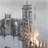 In this image from NASA TV, the SpaceX Falcon rocket launches from the Kennedy Space Center in Florida on Feb. 19.