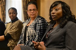 Katie Jacobs, far right, a partner in the Cohen & Grisby law firm, talks about some of her experiences as an attorney during the Mid-Atlantic Black Law Students Association 49th Regional Conference at the Omni William Penn Hotel on Feb. 18. From left are attorney Sydney Normil, Judge Kim Berkeley Clark, attorney Khadijah Diggs and attorney Lisa Freeland.