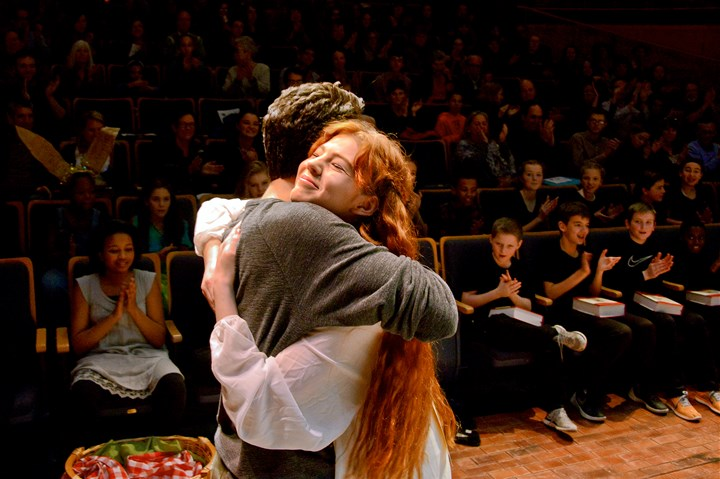 Pittsburgh Public Theater's 2017 Shakespeare Monologue & Scene C Logan Shiller, left, CAPA, and Carolyn Jerz, homeschooled, embrace after being named co-winners of the Pittsburgh Public Theater's 2017 Shakespeare Monologue & Scene Contest's Upper Division Monologue category at the O'Reilly Theater in Downtown Pittsburgh on Monday, Feb. 20, 2017.