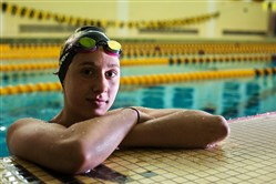 North Allegheny freshman swimmer Torie Buerger poses for a portrait in the school pool before practice Monday in Wexford. Buerger comes from a family of fantastic swimmers, and in only ninth grade is considered the next great swimmer from the area.