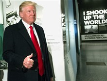 US President Donald Trump gives a thumbs-up as he tours the Smithsonian National Museum of African American History and Culture in Washington earlier this week.