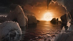 This illustration is an artist's conception of what the surface of the exoplanet TRAPPIST-1f may look like, based on available data about its diameter, mass and distances from the host star.