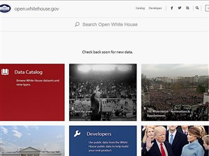 The homepage of the website Open.WhiteHouse.gov, as seen on Tuesday night.