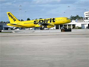 A Spirit Airlines Airbus Industrie A320 takes off from Palm Beach International Airport in West Palm Beach, Fla.