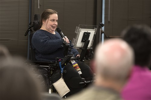 Brenda Dare, born and raised in Washington County, expresses her concerns at an Affordable Care Act town hall event Tuesday.