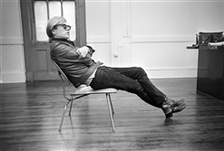 Andy Warhol sits in his favorite chair in New York, Feb. 27, 1968.