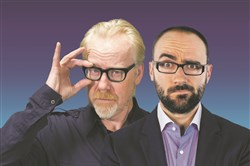 "Adam Savage, left, and Michael Stevens bring science to the stage in ""Brain Candy Live!""      Source: ""Brain Candy Live!"""