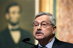 In a Jan. 10 file photo, Republican Iowa Gov. Terry Branstad delivers his annual condition of the state address before a joint session of the Iowa Legislature at the Statehouse in Des Moines, Iowa.