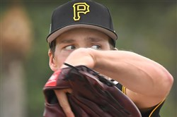 Tyler Glasnow delivers during live batting practice at Pirate City.