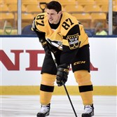 Sidney Crosby poses for a photo Friday during Penguins practice at Heinz Field. (Matt Freed/Post-Gazette)