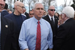 U.S. Vice President Mike Pence arrives prior to a press conference at Chesed Shel Emeth Cemetery on Wednesday in University City, Missouri.