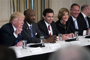 President Donald Trump during a meeting with manufacturing industry leaders at the White House Thursday. From left: Trump; Kenneth Frazier, chief executive of Merck; Mark Fields, chief executive of Ford; Denise Morrison, chief executive of Campbell Soup and Greg Hayes, chief executive of United Technologies Corp.