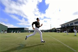 Pirates pitcher Steven Brault runs during morning workouts Friday at Pirate City in Bradenton, Fla.