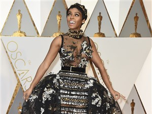 Janelle Monae arrives at the Oscars on Sunday.