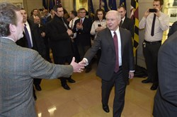 In this Feb. 9 file-pool photo, Attorney General Jeff Sessions is greeted by employees as he arrives at the Justice Department in Washington, D.C.
