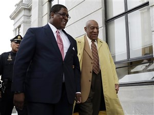 Bill Cosby arrives for a pretrial hearing Monday in his sexual assault case at the Montgomery County Courthouse in Norristown, Pa.