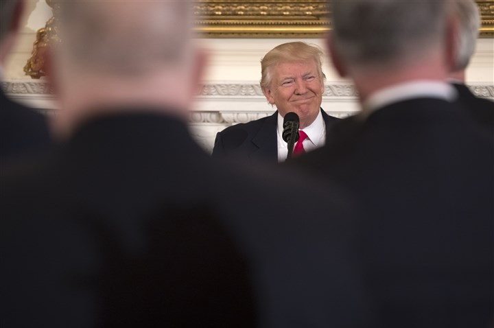 TRUMP FISCAL 10-84 President Donald Trump speaks about budget policy Monday during a meeting of National Governors Association in the State Dining Room of the White House.