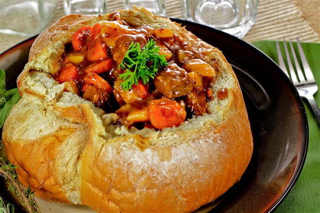 """Irish stew in a bread bowl, a popular dish at the annual Pittsburgh Irish Festival, will be served at the """"Halfway to the Pittsburgh Irish Festival Fundraiser"""" March 19 at the Bulgarian Macedonian National Educational and Cultural Center in West Homestead.  Credit: Pittsburgh Irish Festival  For The Food Column on March 8."""