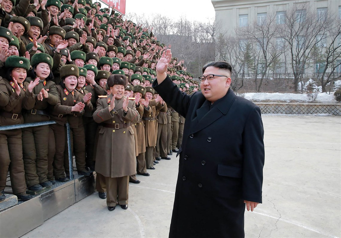 North Korean leader Kim Jong-Un, in a photo released March 1 by North Korea's official Korean Central News Agency, inspects the headquarters of Large Combined Unit 966 of the army at an undisclosed location.