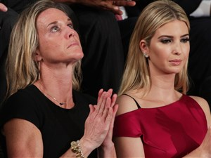 WASHINGTON, DC - FEBRUARY 28: Widow of Fallen Navy Seal, Senior Chief William Owens, Carryn Owens, and Ivanka Trump attend a joint session of the U.S. Congress with U.S. President Donald Trump on February 28, 2017 in the House chamber of the U.S. Capitol in Washington, DC. Trump's first address to Congress focused on national security, tax and regulatory reform, the economy, and healthcare. (Photo by Alex Wong/Getty Images)