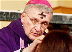 Bishop David Zubik on Ash Wednesday at St. Mary of Mercy  Church Downtown in 2017.