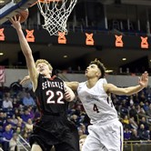Sewickley Academy's Justin Pryor lays the ball up against Our Lady of the Sacred Heart's Desmond Ross in the WPIAL Class 2A championship last Friday at Petersen Events Center.