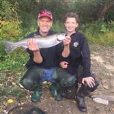 Donnie and Christian Wieczenski of Upper St. Clair shared the credit for hooking and playing this 24-inch, 6-pound steelhead, caught on a tipped jig under a float in a Lake Erie tributary near Conneaut, Ohio.