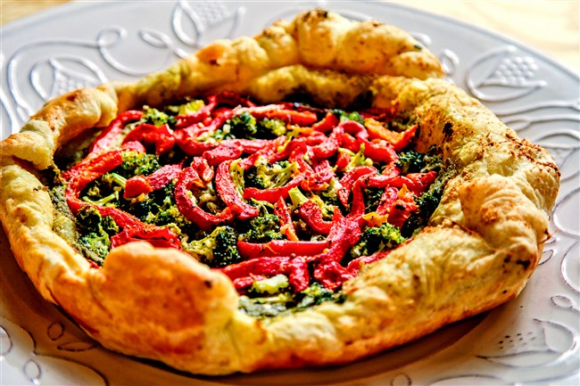 Broccoli + Red Pepper + Pesto Galette.