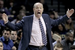 Pitt coach Kevin Stallings reacts to a call during an ACC tournament game in March against Georgia Tech.