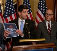 "House Speaker Paul Ryan, center, presents the proposed American Health Care Act at the Capitol. Some critics of the bill have called it ""Obamacare lite."""