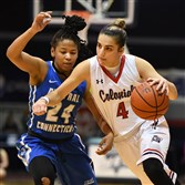 Senior guard Anna Niki Stamolamprou had 15 points in a 70-62 victory Wednesday for Robert Morris over Central Connecticut at Sewall Center.