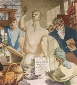 A detail of the three-panel mural by the late Carnegie Institute of Technology professor Kindred McLeary in the Mary S. Biesecker Library, Somerset.