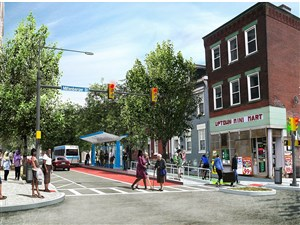 Artist rendering showing how the planned BRT system might run through Uptown.