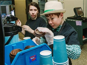 Seneca Valley Ashley Spielman and Eric Kavanagh work at the 'Grounds for Thought' coffee shop.