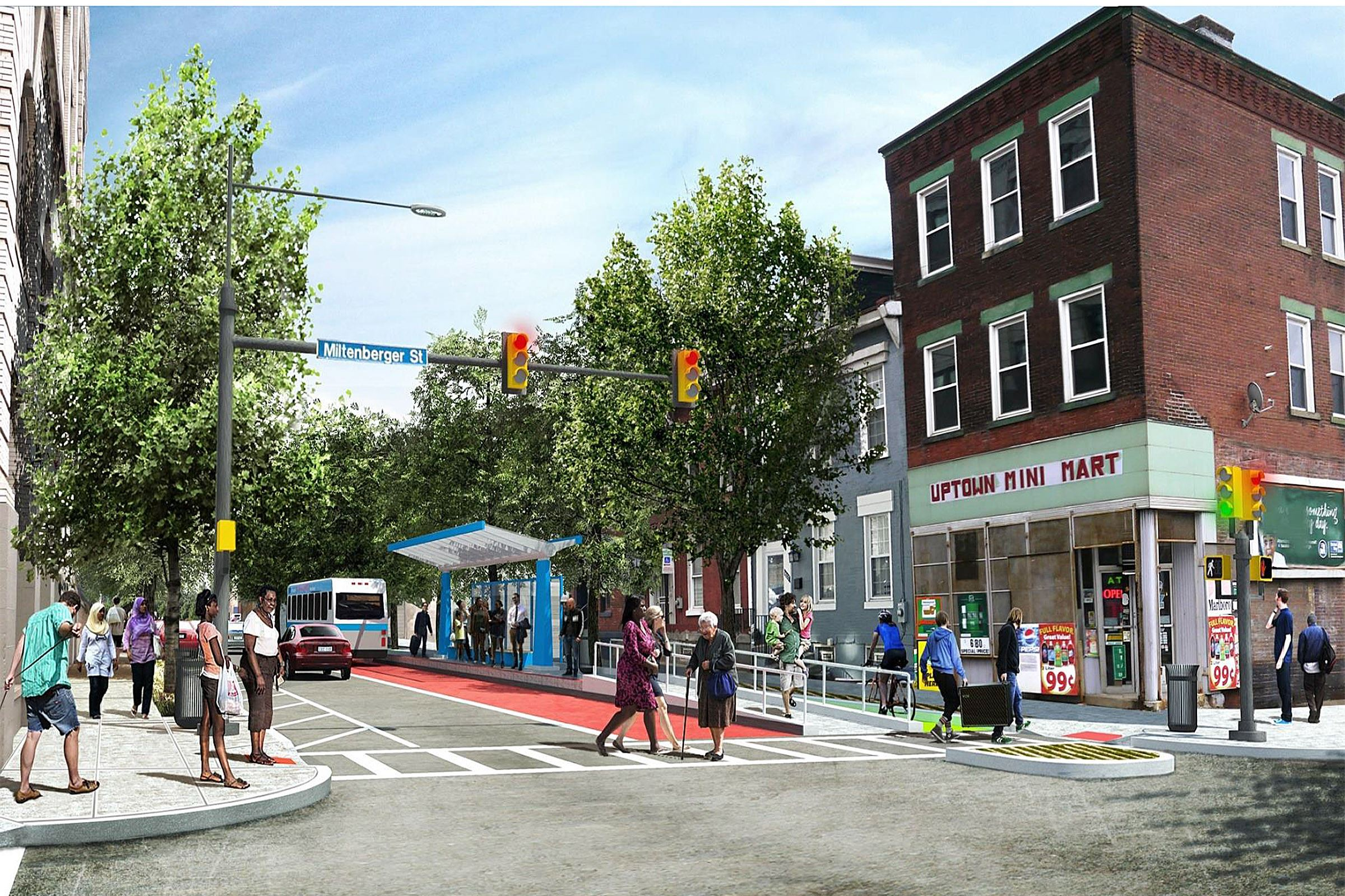 An artist's rendering showing how the planned Bus Rapid Transit system might run through Uptown.